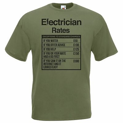 £9.95 • Buy Mens Olive Electrician Rates T-Shirt Sparky Student TShirt Funny Novelty