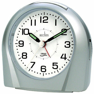 Acctim Europa Silver Analogue Alarm Clock Non Ticking Silent Sweeper 14117 Sweep • 16.95£