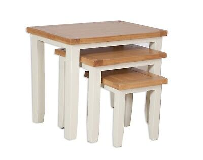 Nest Of Side Tables Solid Oak Pine In Dorset Painted French Ivory Cream • 169£