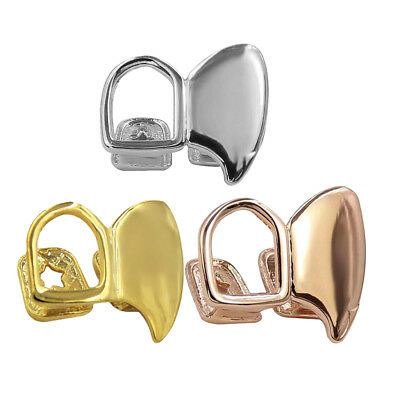 18K Gold Plated Double Tooth Cap FANG Grill Canine Teeth Hip Hop Jewelry • 3.85£