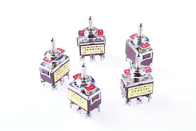 5Pcs 3 Position ON/OFF/ON AC 250V/15A 125V/20A DPDT Toggle Switch Momentary • 8.80$