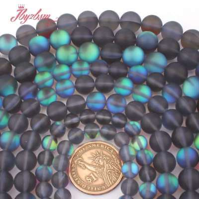 $ CDN7.25 • Buy 6,8,10,12mm Round Blue Rainbow Frosted Moonstone Loose Beads Jewelry Making 15
