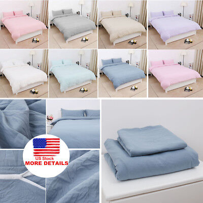 $31.40 • Buy Cotton Duvet Cover Bedding Sets Pillowcases Twin/Double/Queen/King/ & 11 Colors