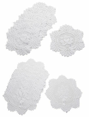 White Floral Lace Round Doilies 6 Pack Traditional Table Dressing Mats 20cm 30cm • 7.70£