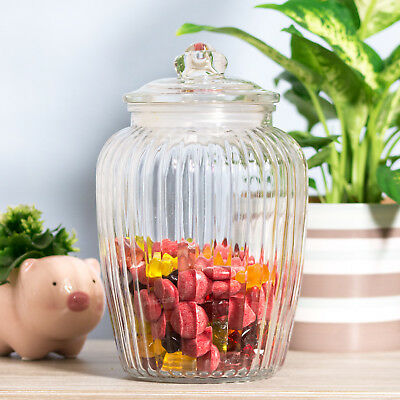 2280ml Retro Ribbed Glass Sweets Sweetie Storage Jar Biscuit Cookie Barrel Tin  • 10.99£