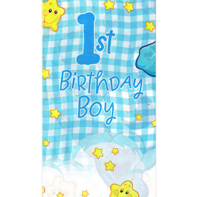 CARE BEARS BOY'S 1st Birthday PLASTIC TABLE COVER ~ First Party Supplies Cloth • 9£