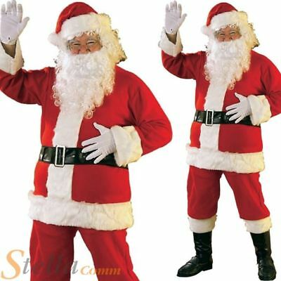 Santa Claus Costume Father Christmas Flannel Suit Mens Adult Fancy Dress Outfit • 19.99£