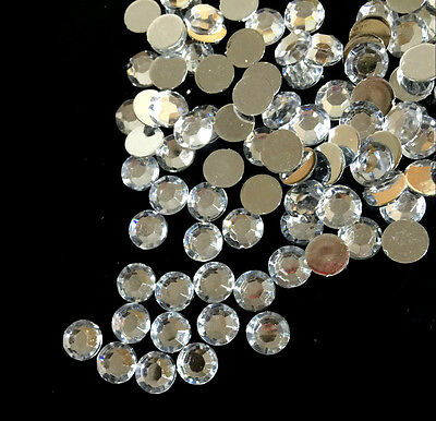 $ CDN1.28 • Buy 200pcs 8mm Clear Acrylic Crystal Round Faceted Flat Back Rhinestones Beads DIY