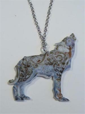 Laser Cut Acrylic Necklace - A Howling Wolf - Free Uk P&p.......cg1934 • 8.99£