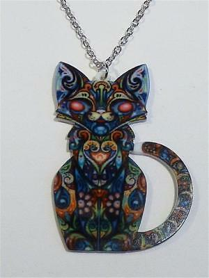 Laser Cut Acrylic Necklace - Intricately Patterned Cat - Free Uk P&p......cg1920 • 8.99£