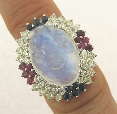 $3850 • Buy Exquisite Carved Blue Moonstone Diamonds Sapphires Rubies 14k White Gold Ring