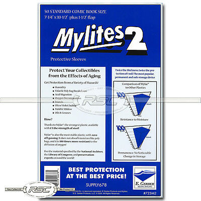 $19.95 • Buy 50 - Mylites 2 Standard 2-Mil Mylar Comic Book Bags By E. Gerber - 725M2