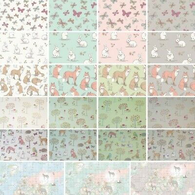 £4.50 • Buy 100% Cotton Fabric Lifestyle Rabbits Fox Butterflies World Map Upholstery 140cm
