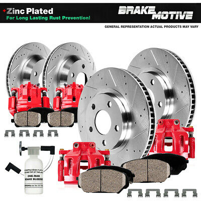 $537.26 • Buy Front + Rear Red Brake Calipers & Rotors & Pads For Subaru Forester Impreza WRX