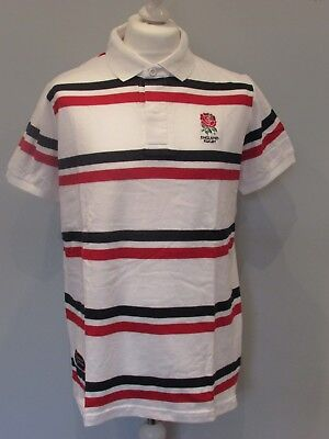 England Rugby Official Rfu Mens White Red & Navy Striped Polo Shirt S M L Xl Xxl • 7.99£