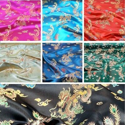 Brocade Chinese Dragon Fabric Embroidered Silky Satin Oriental 90cm Wide   • 6.20£