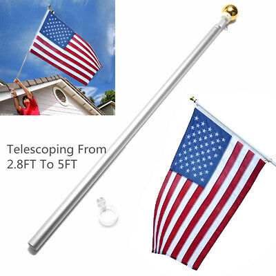 5 Ft Sectional Aluminum Flagpole US American USA 3x5 Flag Pole Gold Ball Kit US • 13.99$