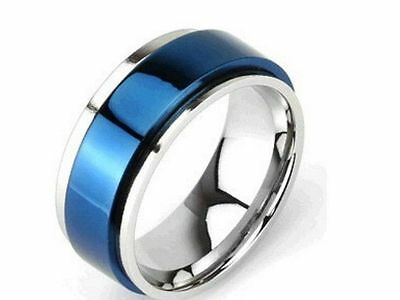 Ring Man Woman Teenager Steel Blue Edges Color Silver Rotary Spin New 1657 • 13.68£