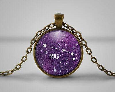 Aries Star Sign Cameo Pendant Necklace, Gift, Space, Nebula, Celestial, Astonomy • 6.49£
