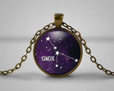 Cancer Star Sign Cameo Pendant Necklace, Gift, Space, Nebula, Celestial Astonomy • 6.49£