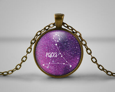 Pisces Star Sign Cameo Pendant Necklace, Gift, Nebula, Celestial Astonomy • 6.49£