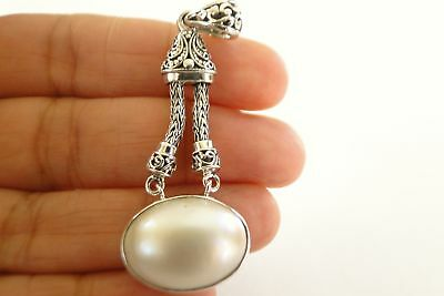 $69 • Buy Oval White Mabe Pearl Solitaire 925 Sterling Silver Dangle Pendant