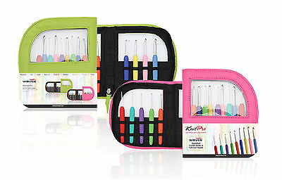 KnitPro Waves 9 Crochet Hook Set IN Case Green O Pink With Colourful Soft Handle • 25.11£