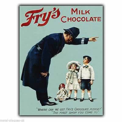 £4.95 • Buy SIGN METAL WALL PLAQUE FRY'S MILK CHOCOLATE Retro Vintage Poster Picture C1890s