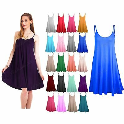 £3.95 • Buy Womens Sleeveless Camisole Swing Dress Floaty Flare Strappy Skater Long Top 8-26