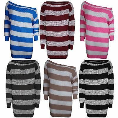Womens Off The Shoulder Knit Jumper Ladies Oversize Baggy Jumper Tunic Dress Top • 9.38£