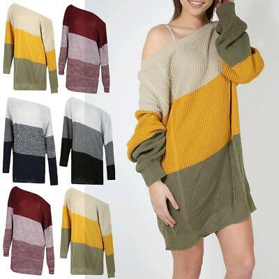 Ladies Womens Off The Shoulder Bardot Top Chunky Knitted Dress Sweater UK 8-14 • 6.90£