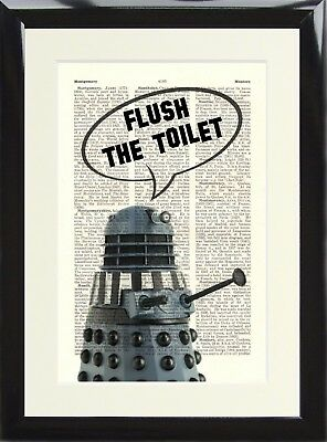 Dalek Doctor Who  Flush The Toilet Art Print Dictionary Page Funny Loo Sign  • 16.99£
