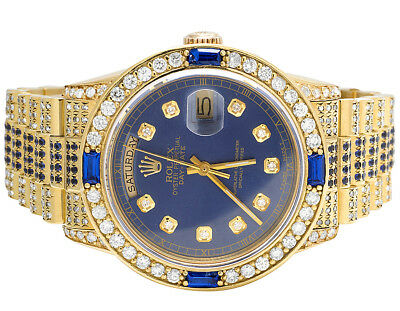 $ CDN27570.40 • Buy 18K Mens Yellow Gold Rolex President 18038 Day-Date Blue Sapphire Diamond Watch