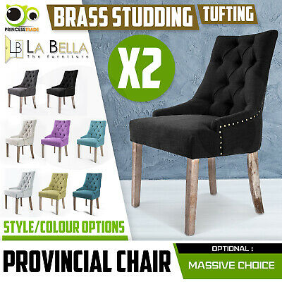 AU249 • Buy 2 X Dining Chair French Provincial Brass Studded Fabric Oak Legs Cafe AMOUR