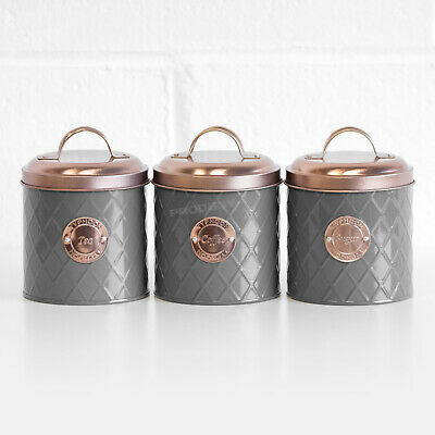 £21.99 • Buy Typhoon Grey Tea Coffee Sugar Canisters With Copper Lids Kitchen Storage Jars