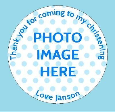 24 Personalised Christening Birthday Party Bag Picture Photo Stickers Labels • 2.55£