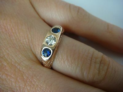 $650 • Buy 14k Rose Gold 0.62ct T.w. Sapphires And Diamond Gypsy Ring 4.4 Grams, Size 5.75