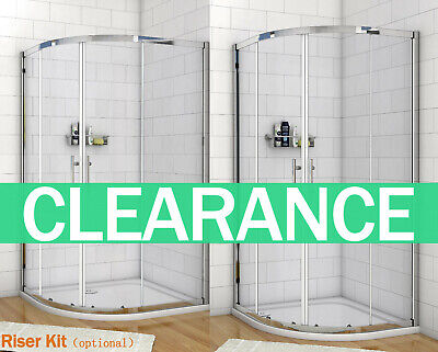 Quadrant Shower Enclosure Self-Clean Glass Cubicle Door Screen Tray+ Riser Kit • 115.99£