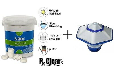 $59.29 • Buy Rx Clear 3  Swimming Pool Chlorine Tablets & Chemical Dispenser - (Choose Size)