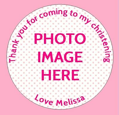 24 Personalised Christening Birthday Party Bag Picture Photo Stickers Labels X • 2.55£