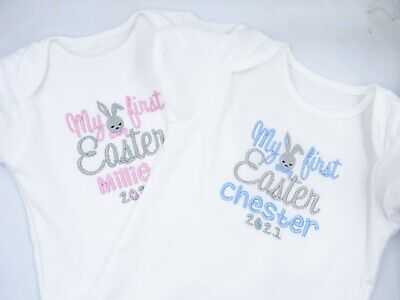 Personalised Embroidered MY FIRST EASTER - BUNNY - BABY BIB GROW VEST BODYSUIT • 6.95£