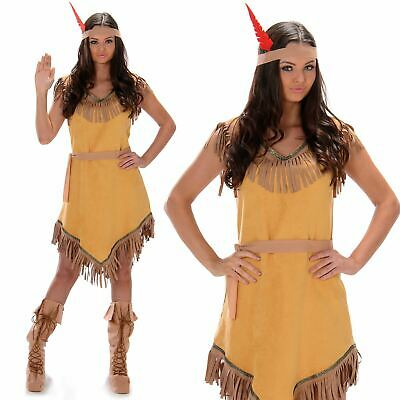 £13.99 • Buy Womens Native American Costume Pocahontas Red Indian Wild West Adult Fancy Dress