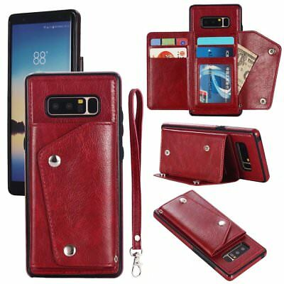 AU13.10 • Buy Red Luxury Premium Hybrid Leather Case With Card Holder For Iphone X SM Note 8