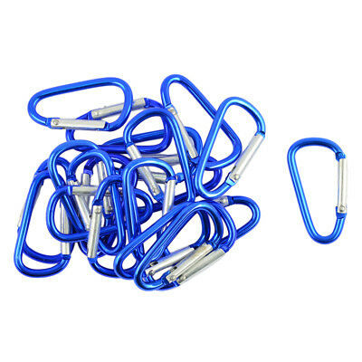 £4.56 • Buy 20pc Carabiner D-Ring Key Chain Loaded Clip Snap Hook Camping 4.6x2.5cm Blue