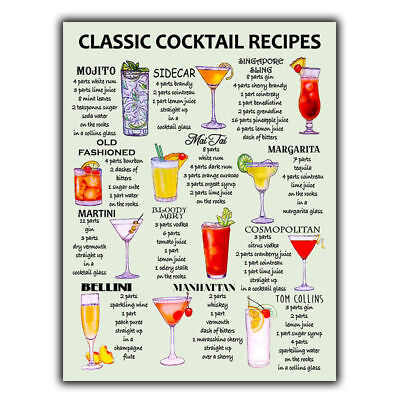 £4.95 • Buy CLASSIC COCKTAIL RECIPES A5 METAL SIGN PLAQUE Print Bar Cafe Kitchen Restaurant