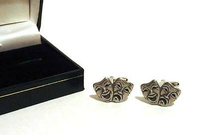 £12.99 • Buy Comedy Tragedy Masks Pewter Cufflinks Theatre Christmas Wedding Gift For Him NEW