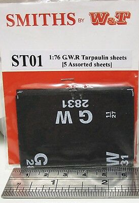 Smiths ST01 - GWR Wagon Tarpaulin Sheets - 5 Assorted - New.(00) • 7.20£