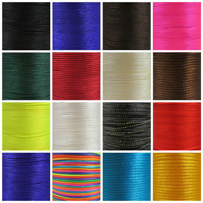 RATTAIL SATIN CORD 1mm, 2mm, 2.5mm & 3.5mm 25 COLOURS KUMIHIMO MACRAME STRINGING • 1.69£