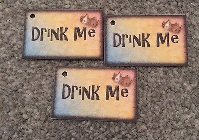 £3 • Buy 12 Drink Me Tags - Mad Hatters Tea Party Wedding/birthday Decorations