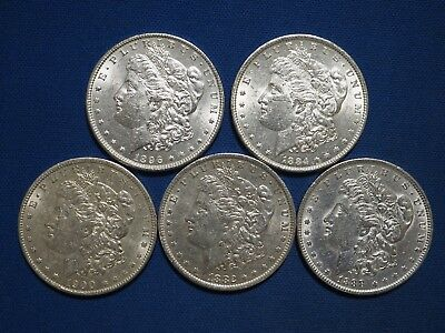 $150.28 • Buy 1878-1904 Morgan Silver Dollars XF-AU Pre-1921 Mix Dates Lot Of 5 Coins